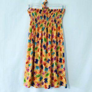 JUST LOVE Yellow Butterfly Silky Halter Sun Dress